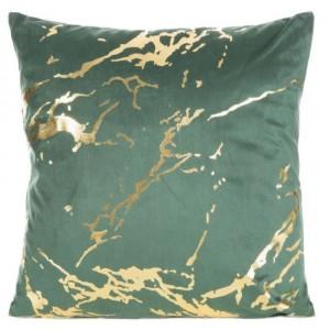Zelená obliečka na vankúš so zlatou mramorovou potlačou