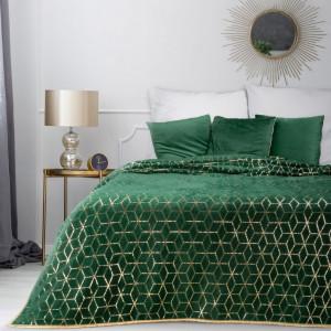 Originálny zelený prehoz na posteľ s dokonalým zlatým vzorom