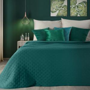 Tyrkysový jednofarebný matný prehoz na posteľ