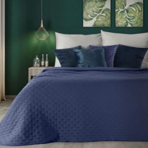 Štýlový granatovo modrý jednofarebný prehoz na posteľ