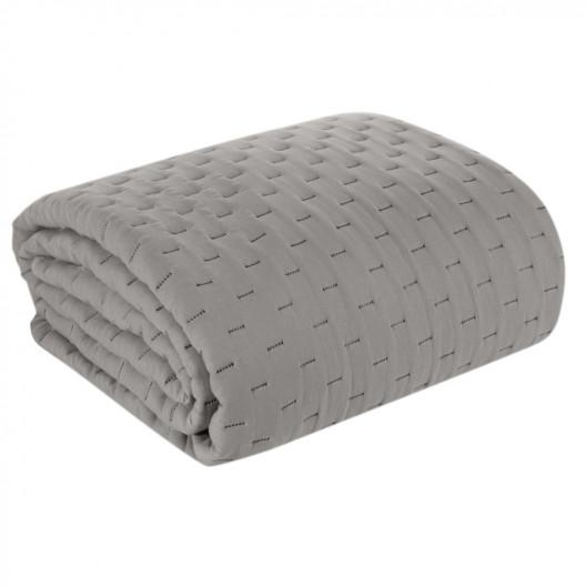 Moderný sivý matný jednofarebný prehoz na posteľ
