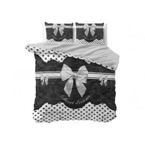 Krásne bielo čierne bavlnené posteĺné obliečky s mašľou 200 x 220 cm