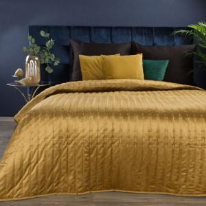 Luxusný zlato žltý zamatový prehoz na posteĺ