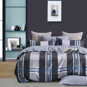 Kvalitné sivé bavlnené posteľné obliečky so vzorom kára