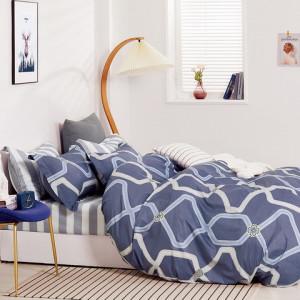 Krásne bavlnené granátovo modré posteľné obliečky s geometrickým tvarom