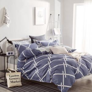 Obostranné sivo modré bavlnené posteľné obliečky