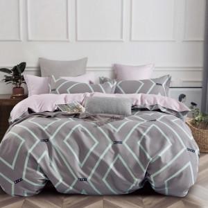 Štýlové obojstranné sivo ružové bavlnené posteľné obliečky