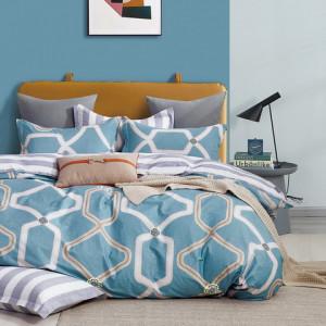 Moderné modré obojstrané bavlnené posteľné obliečky