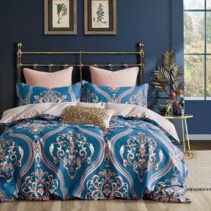 Fenomenálne ružovo modré bavlnené posteľné obliečky s barokovým vzorom