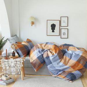 Bavlnené posteľné obliečky s farebným károvaným vzorom