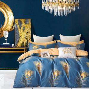 Fenomenálne modré bavlnené posteľné obliečky s pávim perím