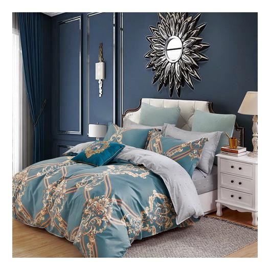 Kvalitné tyrkysové bavlnené posteľné obliečky s barokovým ornamentom