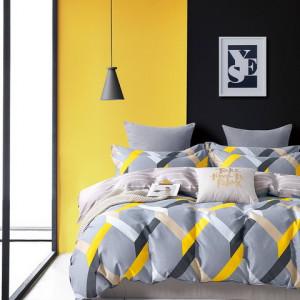Originálne sivo žlté bavlnené posteľné obliečky