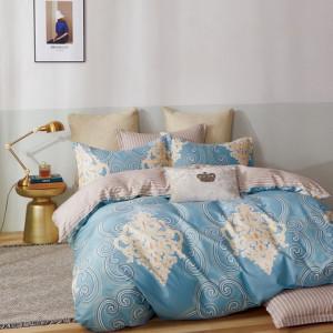 brilatné modré bavlnené posteľné obliečky s ornamnetálnym vzorom