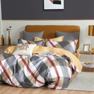 Moderné žlto sivé bavlnené kárované posteľné obliečky