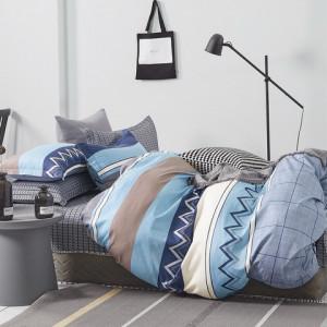 Krásne modré bavlnené posteľné obliečky s geometrickým motívom