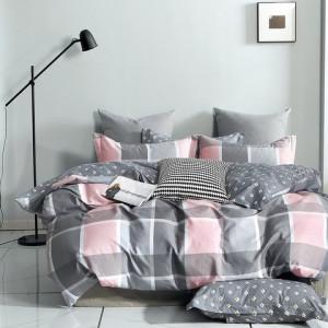 Kvalitné sivo ružové vzorované bavlnené posteľné obliečky