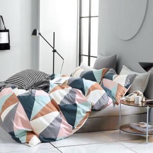 Originálne farebné bavlnené posteľné obliečky s geometrickým vzorom
