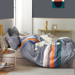Krásne sivé bavlnené posteľné obliečky s farebnými pruhmi