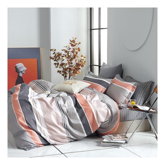 Sivo ružové pruhované bavlnené posteľné obliečky