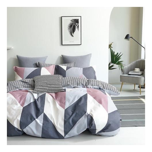 Obojstranné bavlnené posteľné obliečky sivo ružové