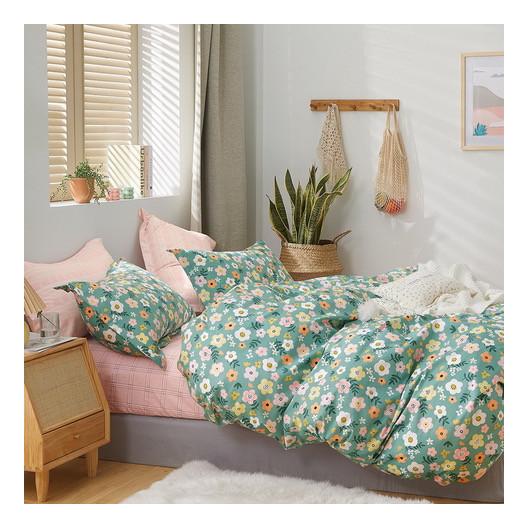 Nadčasové zelené bavlnené posteľné obliečky s motívom kvetov