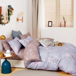 Bavlnené posteľné obliečky sivo fialové