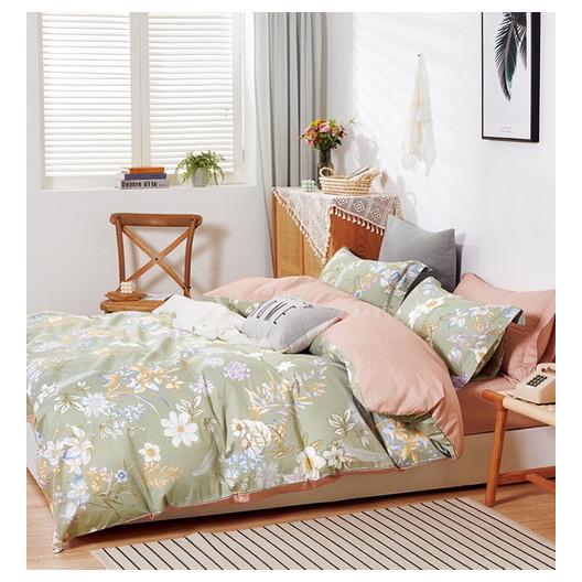 Krésne olivovo béžové posteľné obliečky s motívom kvetov