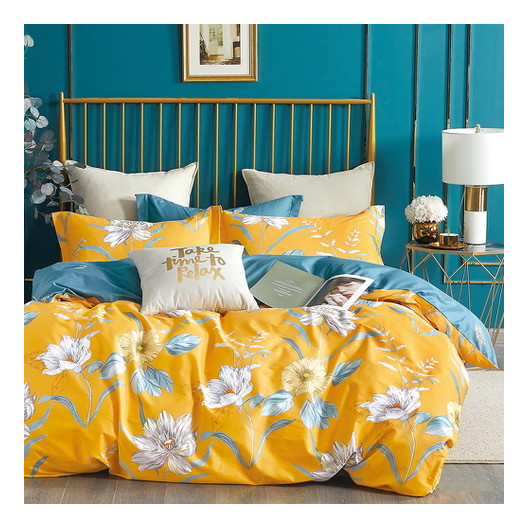 Krásne žlté obostranné bavlnené posteľné obliečky s kvetmi
