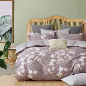 Sivo béžové obojstranné bavlnené posteľné obliečky s motívom rastlín