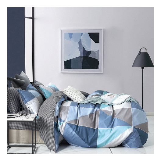 originálne sivo modré bavlnené posteľné obliečky s geometrickým tvarom