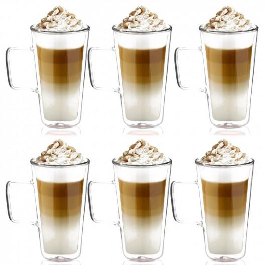 Sada 6 dvojstenných pohárov na kávu