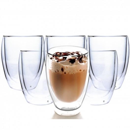 Sada šiestich dvostenných pohárov Latte