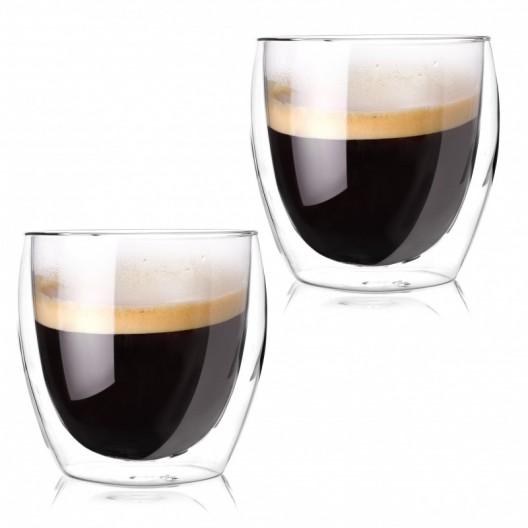 Sada 2 dvojstenných pohárov na kávu Latte