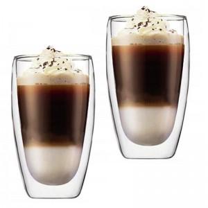 Sada 2 dvojstenných pohárov na kávu Latte long