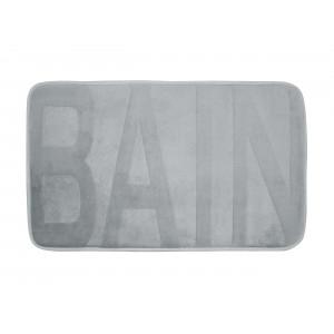 Svetlo sivý koberec do kúpeľne s nápisom BAIN 45 x 75 cm