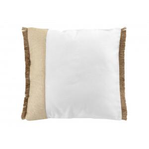 Originálny biely bavlnený vankúš s jutovinou 40 x 40 cm
