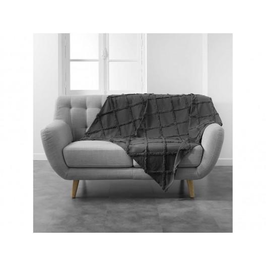 Bavlnená antracitová vzorovaná deka 125 x 150 cm