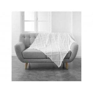 Biela bavlnená vzorovaná deka 125 x 150 cm