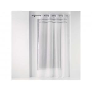 Biela záclona na kruhy s ozdobnými sivými pruhmi 140 x 240 cm