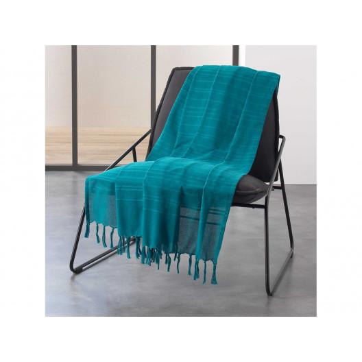 Brilantná tyrkysovo modrá bavlnená deka 180 x 220 cm