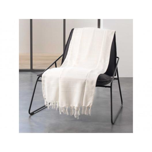 Krásna smotanová bavlnená deka so strapcami 180 x 220 cm