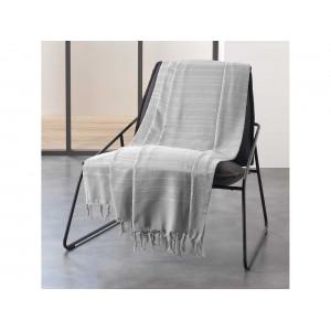 Svetlo sivá bavlnená deka so strapcami 180 x 200