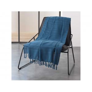 Kvalitná tmavo modrá bavlnená deka so strapcami 220 x 240 cm