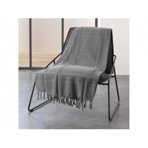 Jednofarebná tmavo sivá bavlnená deka so strapcami 220 x 240 cm