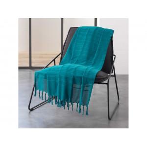 Tyrkysovo modrá bavlnená deka so strapcami 220 x 240 cm