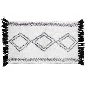 Biely bavlnený koberec s etno vzorom a strapcami 50 x 80 cm