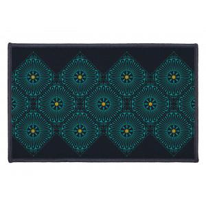 Moderný čierny koberec do predsiene s krásnym vzorom 50 x 80 cm