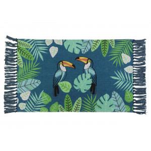 Malý bavlnený modrý koberec do predsiene s exotickým motívom 50 x 80 cm