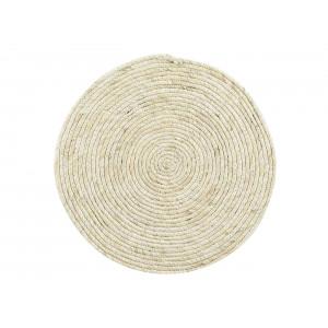 Svetlá okrúhla podložka na stôl z morskej trávy